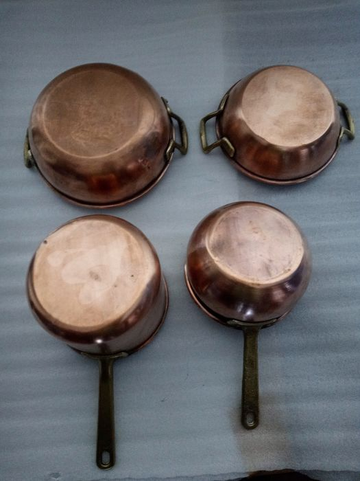 Copper pot (2) and copper pan (3) (4) - Folk Art - Copper, brass Cooking & Dining Kitchenware for sale