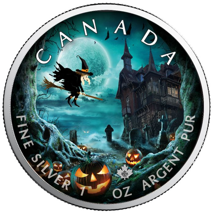 Canada - 5 Dollars 2019 - Maple Leaf Special Edition Halloween - Ghost Town - 1 oz - Silver