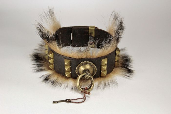 Rare Dog Collar, Badger Hair - Brass, Leather, badger hair - First half 20th century