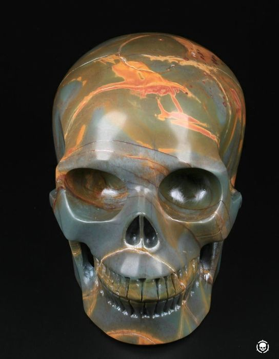 "Huge 5.1"" Yellow Leaves Stone Carved Skull Crystal - 5.2×3.8×3.3 in - 1395 g"
