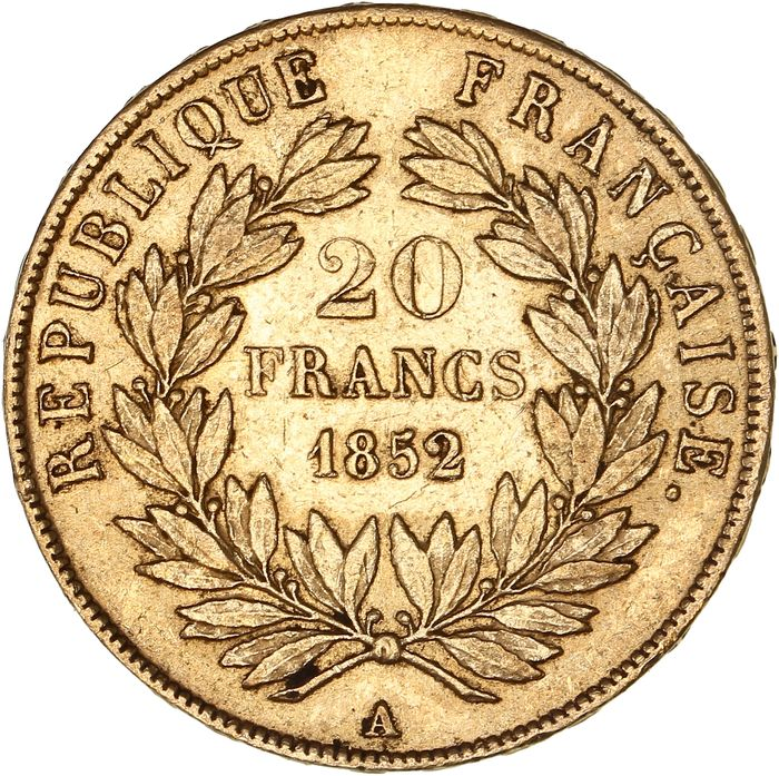 20 Francs 1852-A Louis Napoleon Bonaparte - Or