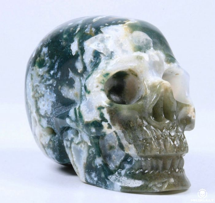"""2.0"""" Green moss Agate Carved Skull Crystal - 2×1.5×1.2 in - 87 g"""
