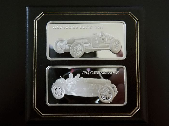 2 x  Mercedes Benz Barren - 2 x 1 Oz Proof - Prata 925 /1000 - Punzen