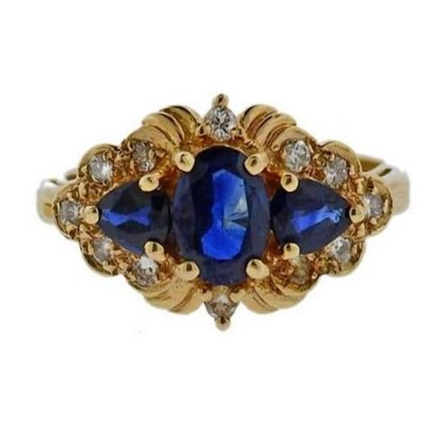 Town & Country - 14 kt. Gold, Yellow gold - Ring, 0.62 cts total approximately signed T & C Sapphire - Diamonds, Sapphires