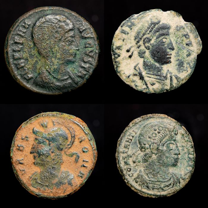 Empire romain - Lot comprising 4 AE coins: - Helena, Valens, Urbs Roma ( Romulo and Remo ) and Constantine I The Great.