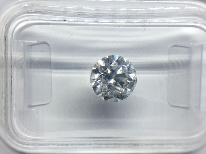1 pcs Diamond - 1.04 ct - Brilliant, Round - F - SI2
