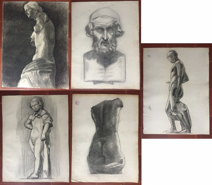 Max Méder - 5 Dessins de sculptures