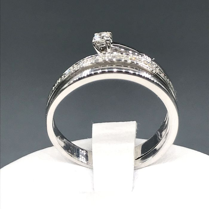 18 kt. White gold - Ring - 0.07 ct Diamond - Diamonds