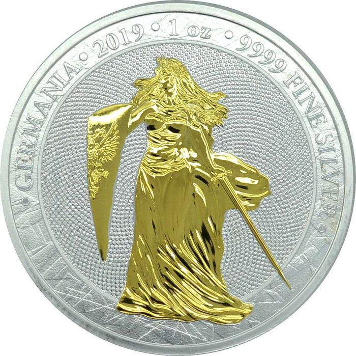 Alemania - 5 Mark 2019- Germania gilded in Kapsel 1 OZ  - Plata