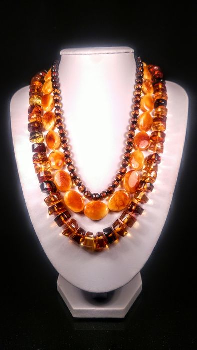 Baltic Amber - Necklace, Set - Natural (untreated)