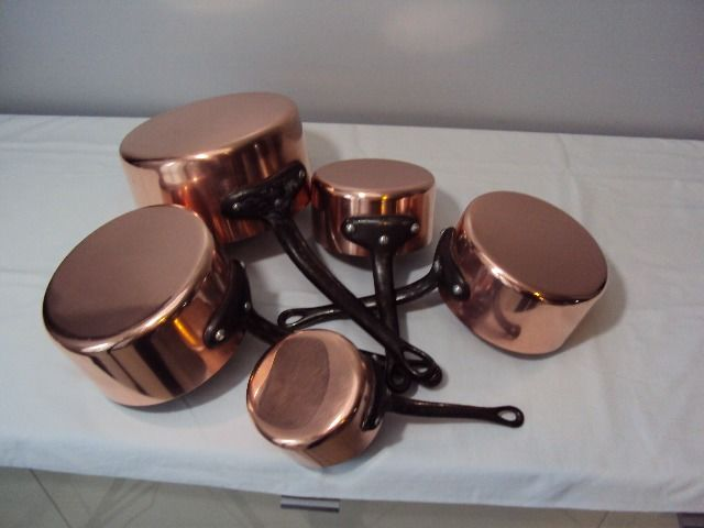 Made in FRANCE Five tinned pans - Copper, Iron (cast/wrought)
