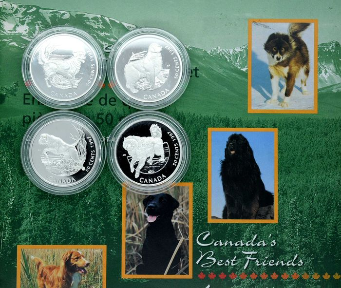 Canada - 50 Cent 1997 Canada's Best Friends Series - Sterling Dogs Coin Set - 4 pieces - Silver
