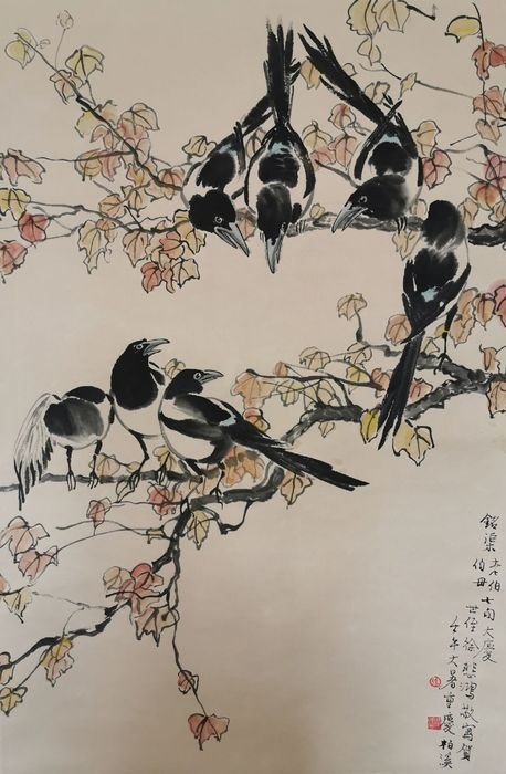 Ink painting - Paper - in style of the artist, Xu Beihong《徐悲鸿—七喜图》 - China - Late 20th century