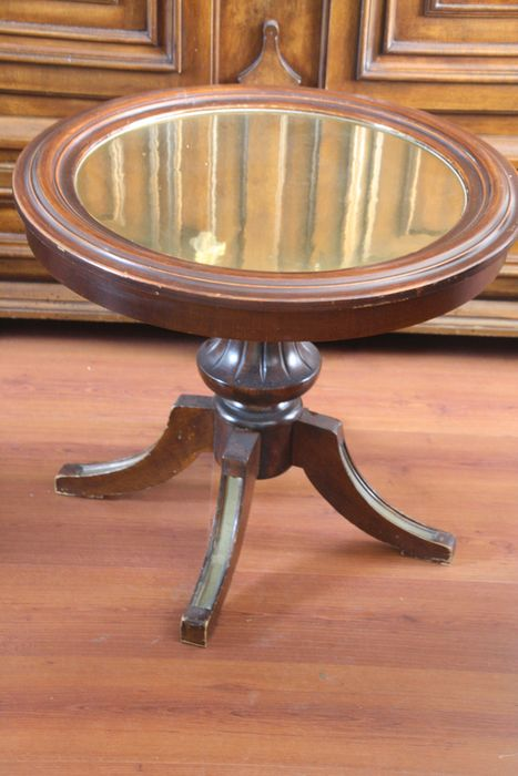Mahogany round tea or coffee table - copper top