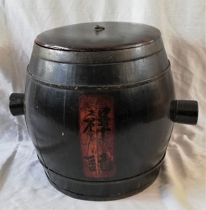 Grain barrel with lid - wood grain, brass - China - Late 20th century