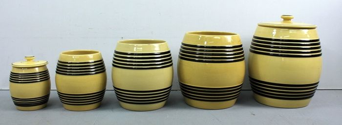 Petrus Regout & Co, Maastricht - A series of storage jars - Earthenware