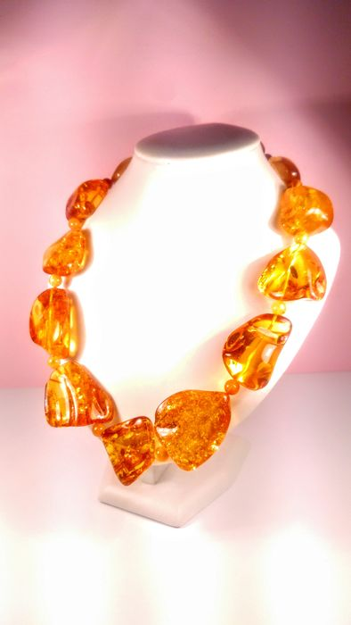 Honey colour Baltic amber - Necklace - Natural (untreated)