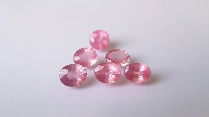 6 pcs Rosa Spinell - 5.40 ct