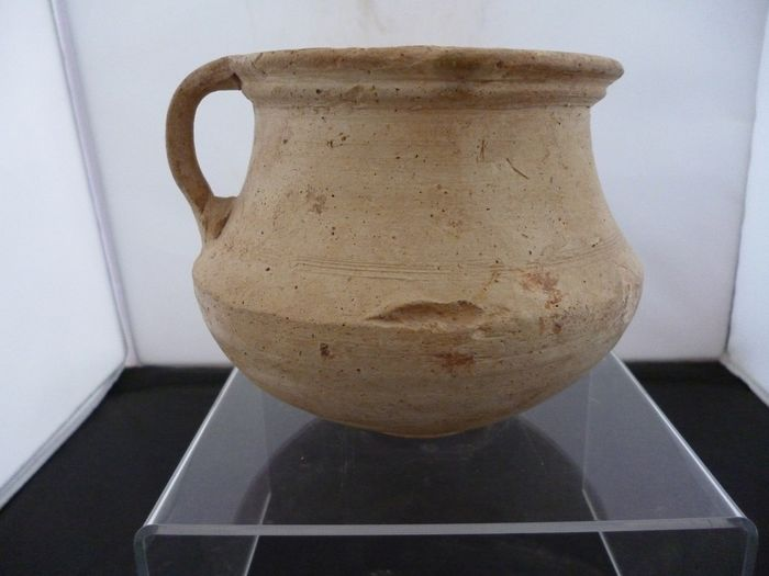 Ancient Roman Pottery (a68) drinking cup with an ear - 10×12×0 cm - (1)