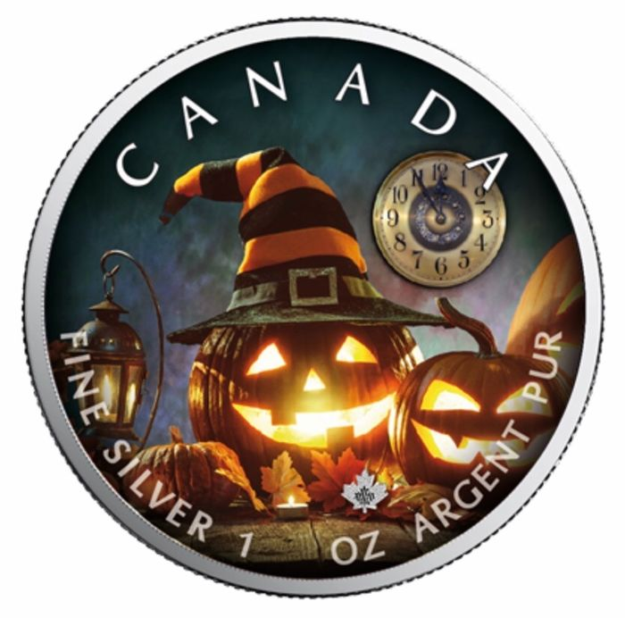 Canada - 5 Dollars 2019 - Maple Leaf Special Edition Halloween - The Witching Hour - 1 oz - Silver