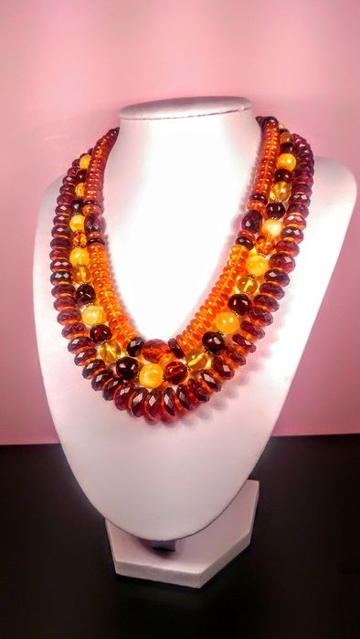 Vintage set Baltic amber - Necklace, Set - Natural (untreated)