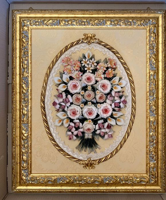 Classic Capodimonte porcelain painting dimensions 63x53 with mixed flowers (2) - Porcelain