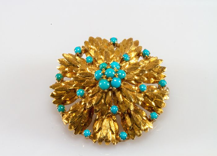18 kt. Yellow gold - Brooch - Turquoises