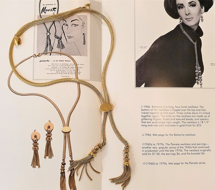"MONET 18kt gold plated - ""Pamela"" Tassel Necklace - BOOK PIECE - New York 1960's"