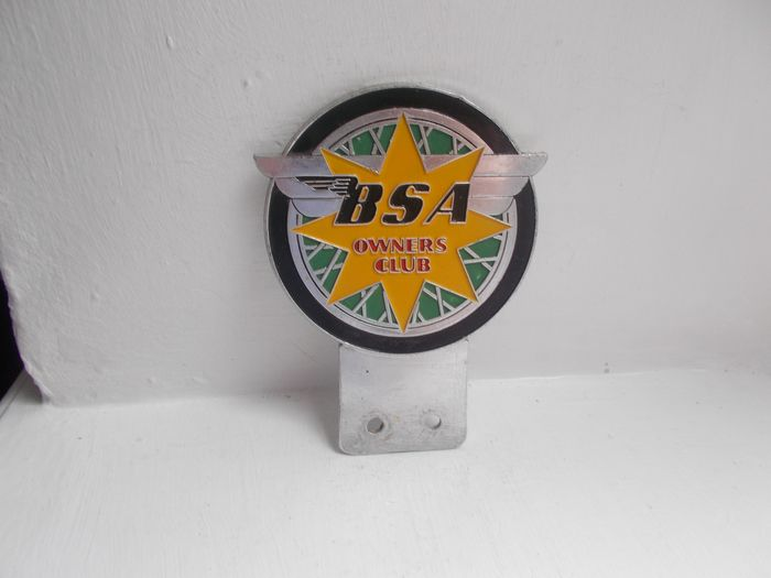 Badge - Vintage BSA Owners club motorcycle chrome and enamel motor bike badge early  - 1940-1960