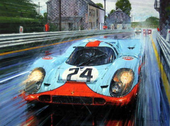 Fine Art eksklusivt giclée-trykk (Artist Proof) - Gulf Porsche 917 #24 Signed Edition By Brian Redman winner Spa-Franchorchamps - 1970