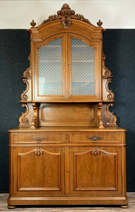 Large living room library - Louis Philippe - Walnut - 19th century