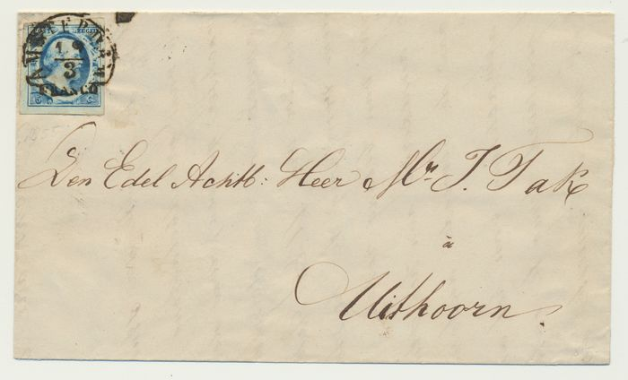 Países Bajos 1855 - Cover from Amsterdam (half round type a, capitals) to Uithoorn (name cancel) - NVPH 1
