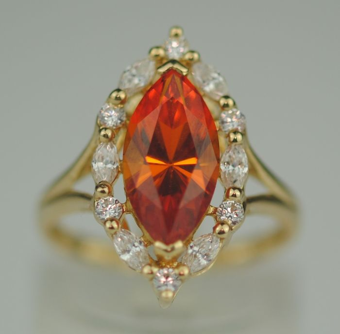 Marquise-Cut Faceted Citrine  - 14 quilates Oro amarillo - Anillo