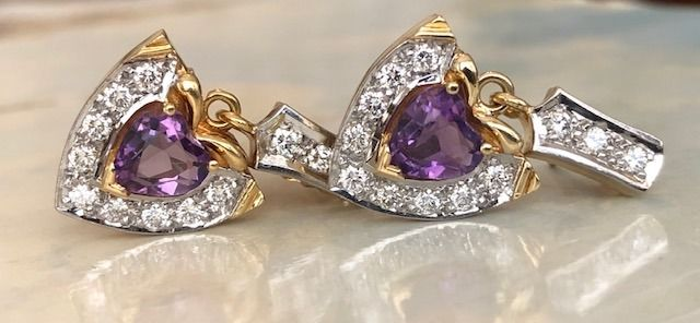 18 kt. Gold - Earrings - 1.20 ct Diamond - Amethysts