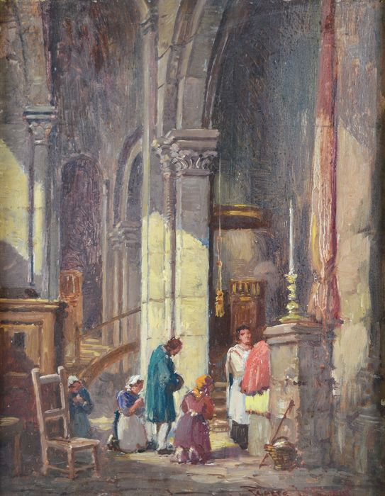 Pierre Le Boeuff (19th/20th century) - The interior of the church Saint-Michel at Pont L'Eveque