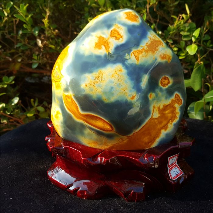 Agate (variety of quartz) Large Yellow Agate Crystal with stand - 150×140×80 mm - 2780 g