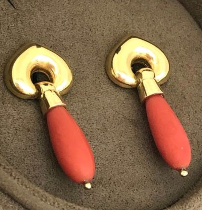 18 kt. Yellow gold - Earrings Mediterranean red coral