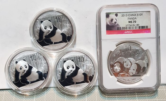 China - 10 Yuan - 2015-2013 'Panda' - 1 Oz Ag.999 (4 Coins) - Silber