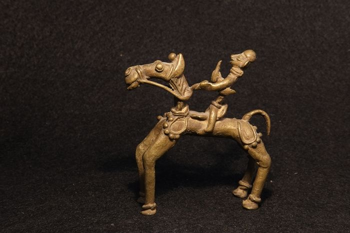 Tribal Figure of a Warrior on a Horse  - Bronze - Sironcha district, Maharashtra, India - Early 20th century