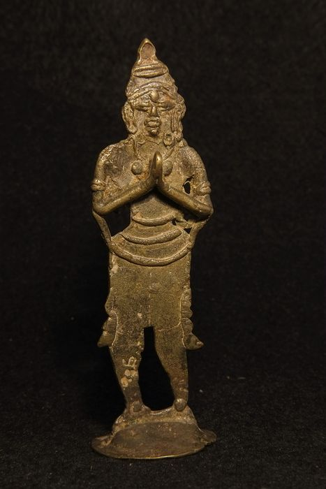 Bronze Figure of a slim praying figure,  - Bronze - South India - Early 20th century