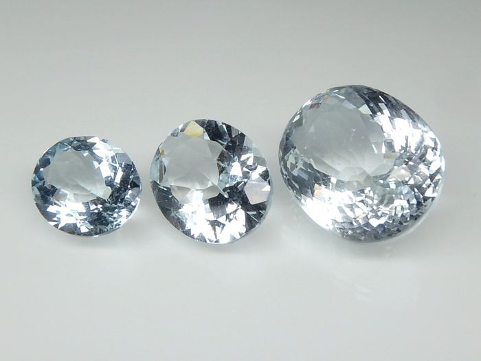 3 pcs  Acquamarina - 21.84 ct