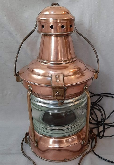 Old ship lamp - Brass, Copper, Glass, Iron (cast/wrought) - First half 20th century