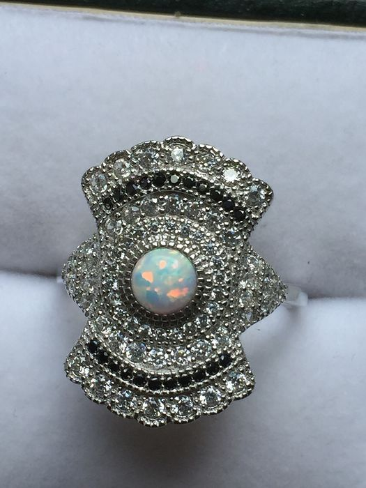 925 Silver - Ring Opal - Sapphire