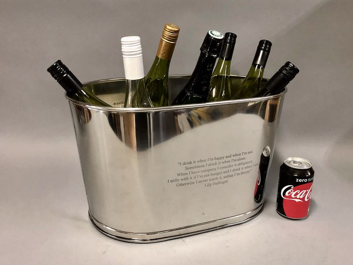 Nickel Plated Champagne/ Wine bowl in oval shape - fits 8 bottles easily - France