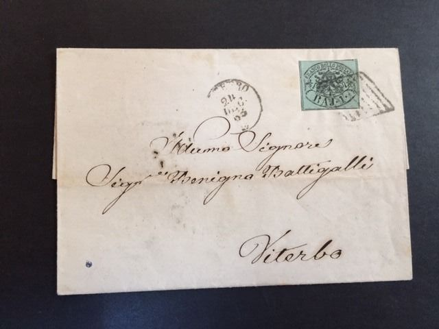 Pontifical State 1852 - Stamps in bajocchi (1, 2, 3, 4 baj) used on letters - Sassone NN. 2A - 3 - 4c - 5A