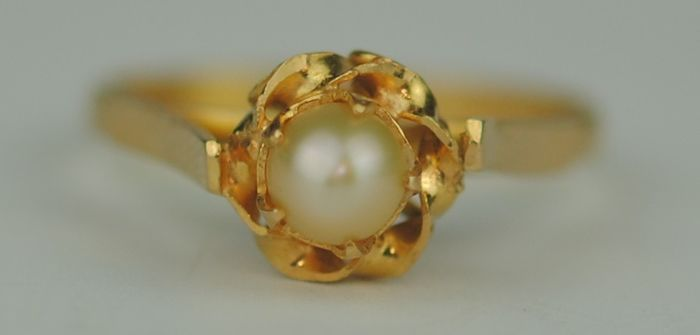 Pearl - 22 kt. Yellow gold - Ring