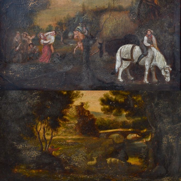 English naive school. (19th century) - A pair of country scenes with figures/