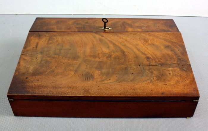 Antique writing case with inkwell - Brass, Glass, Wood- Walnut