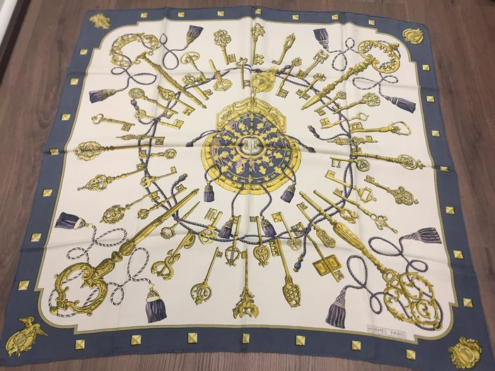 """Hermès -  Hermes Paris Scarf """"Les Clefs"""" designed by Caty Latham,  first issued  1965 Scarf"""