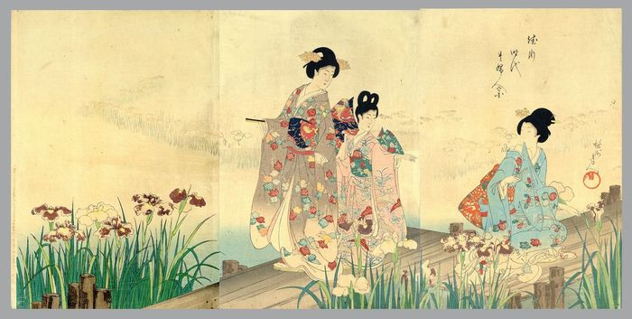 "Gravure originale sur bois, Triptyque - Toyohara Yoshu Chikanobu (1838-1912) - Enjoying an iris garden - From the series ""The Appearance of Upper-Class Women of the Tokugawa"" - 1896"